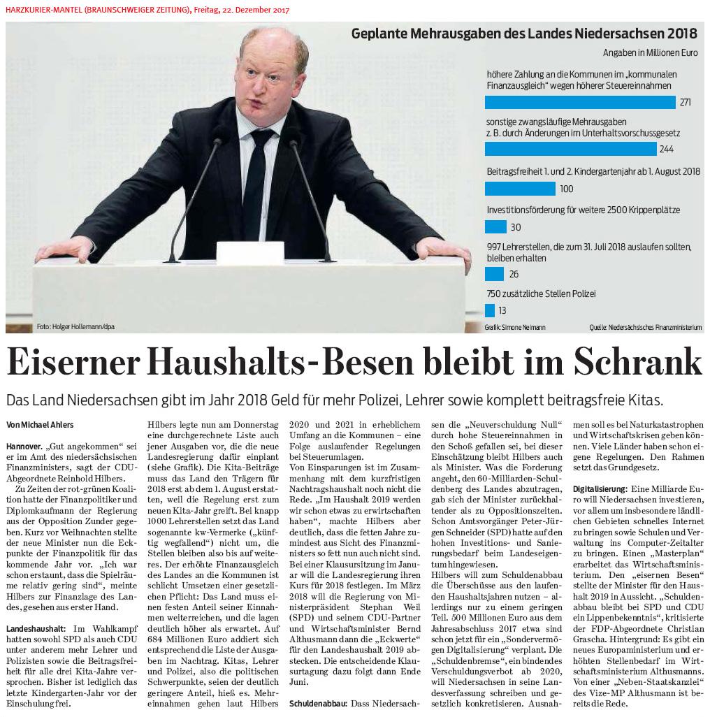 Landeshaushalt Niedersachsen 2018 Mehrausgaben Für Polizei Lehrer